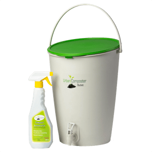 The original Urban Composter with Lime lid and Compost Accelerator spray